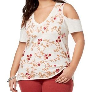 Lucky Brand Cold Shoulder Floral Embroidered Tee